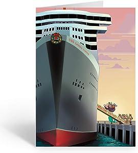 Santa Boards Cruise Ship Christmas Card - 18 Cards & Envelopes