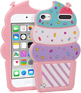 iPod Touch 7 Case, iPod Touch 6 Case, iPod Touch 5 Case Cute 3D Cartoon Cherry Cupcakes Ice Cream Shaped Kids Girls Soft Rubber Silicone Shockproof Cover for iPod Touch 7th 6th 5th Generation (Pink)