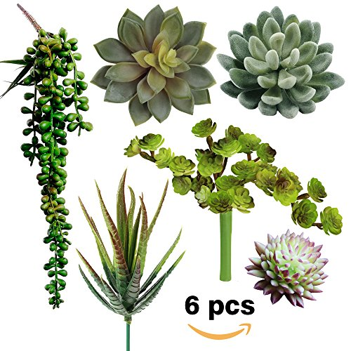 Cheap  Supla Pack of 6 Assorted Artificial Succulents Picks Textured Faux Succulent Pick..
