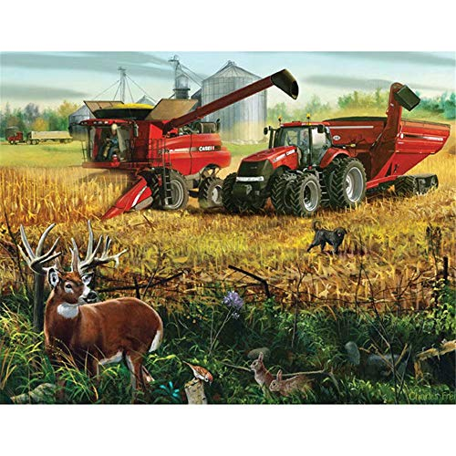 Diy 5D Diamond Painting Kit Diamond Sticker Stitch Painting Sets Full Drill Diamond Painting,Diamond Painting for Adult Or Kid- Country Tractor Field Animal(Frameless)