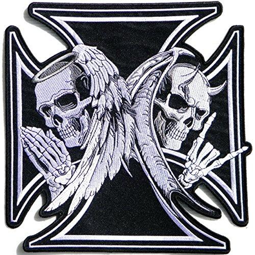 Angel Skull Demon Skull Skeleton Wing Cross Bone Large Back Embroidered Appliques Badge Iron On Black & White Size 11