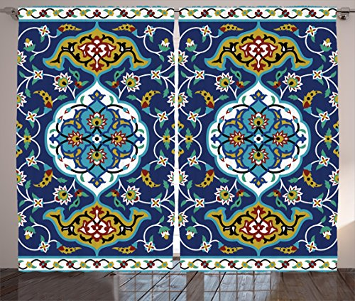 Ambesonne Moroccan Curtains Decor, Authentic Oriental Motif with Vintage Byzantine Style Tile Effects Artwork, Living Room Bedroom Window Drapes 2 Panel Set, 108 W X 84 L Inches, Mustard Royal Blue (Bedroom Moroccan)