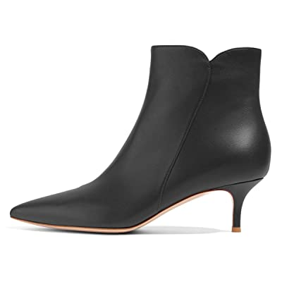 YDN Women Dressy Kitten Low Heel and Stiletto High Heels Ankle Boots Pointed Toe Booties Shoes | Ankle & Bootie