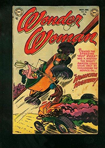 [WONDER WOMAN #56 1952-HOT ROD CRASH ART-WILD GOLDEN AGE-very good/fine] (Hot Superhero Women)