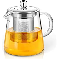 Teapot, Glass Tea Pot with Infuser, Microwavable and Stovetop Safe, Tea Strainer for Loose Leaf Tea and Blooming Tea