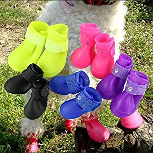 Pesp Puppy Dogs Candy Colors Anti-slip Waterproof Rubber Rain Shoes Boots Paws Cover (Black, Medium)