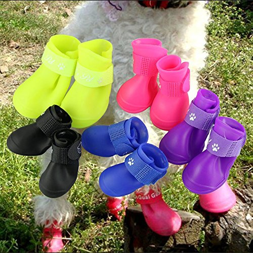 Pesp Puppy Dogs Candy Colors Anti-slip Waterproof Rubber Rain Shoes Boots Paws Cover (Blue, Medium) (Boots Rubber Dog)