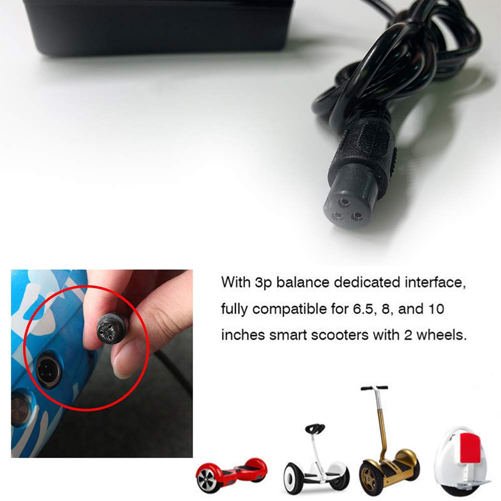 Edhua Bilanciamento del Caricatore per Auto ower,Caricabatterie per Scooter Elettrico per Xiaomi//Hoverboard