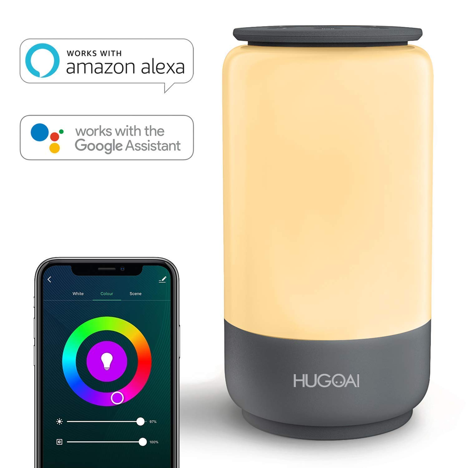 Smart LED Table Lamp, HUGOAI Nursery Night Light for Kids, Dimmable Bedside Lamp for Bedroom, Remote Control via App, No Hub Required, Works with Alexa and Google Home - Grey