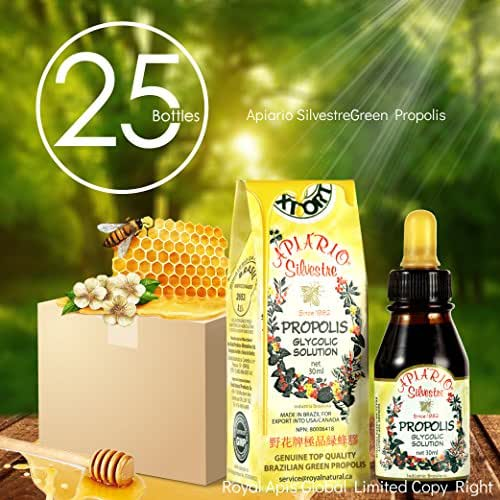 Official Distributor - 1 Case (25 Bottles) of Apiario Silvestre Brazilian Green Bee Propolis Liquid Glycolic Extract -Non Alcoholic, Wax Free, Sugar Free