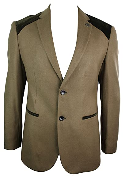 Mens Tan Brown Vintage Twead Blazer Jacket Elbow Patch Trim Smart ...