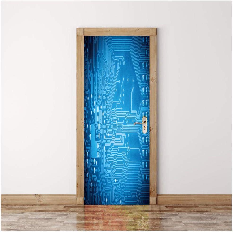 ZXFMT Pegatinas De Puerta En 3D Tecnología Azul Calcomanías De Pared Mural Fondo Cartel Casero Decoración Dormitorio Calcomanía PVC Vinilo DIY: Amazon.es: Hogar