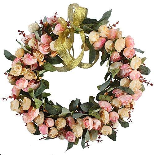 Floral wreath amazon rose wreath silk flower head floral home wall decor 14 inch mightylinksfo