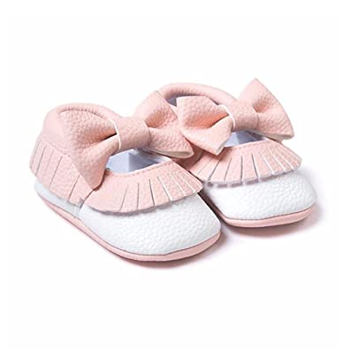My BeezNest Baby Girl Moccasins with Bowtie Leather Shoes for Infants & Toddlers Pink