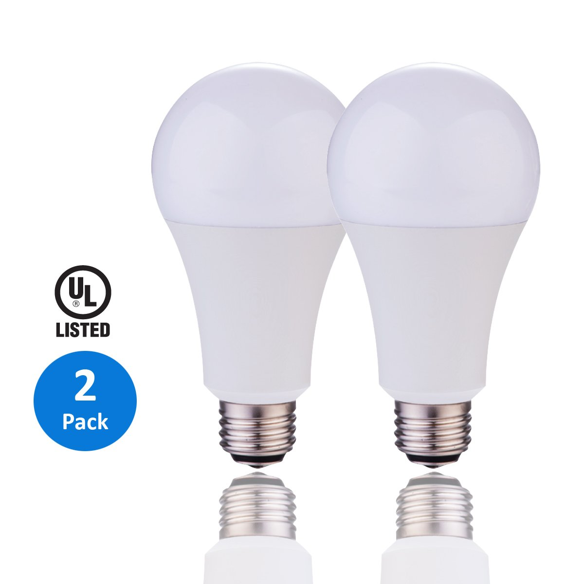 AmeriLuck 3-WAY 50/100/150W Equivalent A21 LED Bulb 800/1500/2200lumens Daylight 5000K 2 Pack