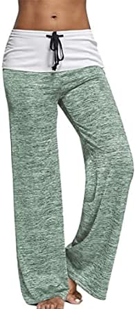 Hioinieiy High Waisted Wide Leg Palazzo Pants Women Lounge Loose Pajama Trousers Womens Slacks PJ