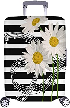 INTERESTPRINT Travel Luggage Cover Suitcase Protector Fit 18-28 Inch Luggage Music Notes