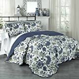 Traditions by Waverly Maldives 3-Piece Quilt Collection, King, Porcelain