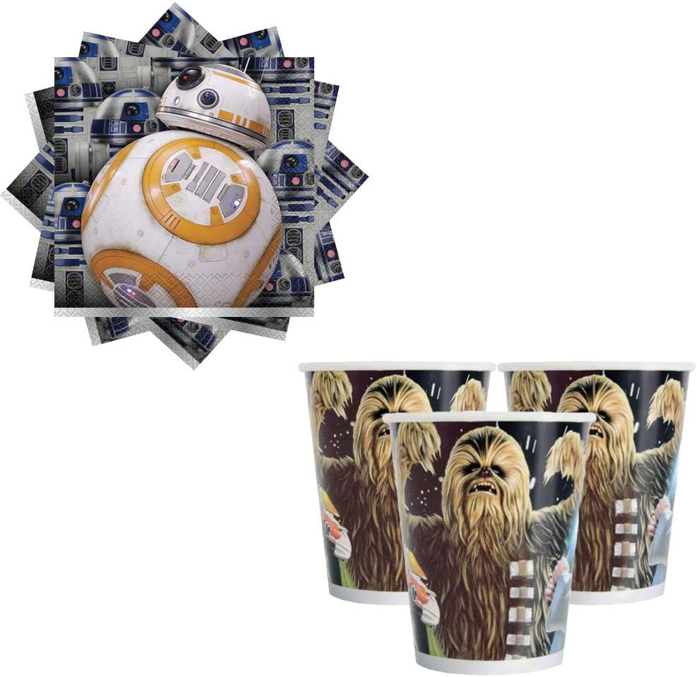 Birthday Banner and an Exclusive Porg Pin Napkins 152 Stickers Cups Star Wars Classic Birthday Party Supplies Pack For 16 Guests With Plates Table Cover by Another Dream
