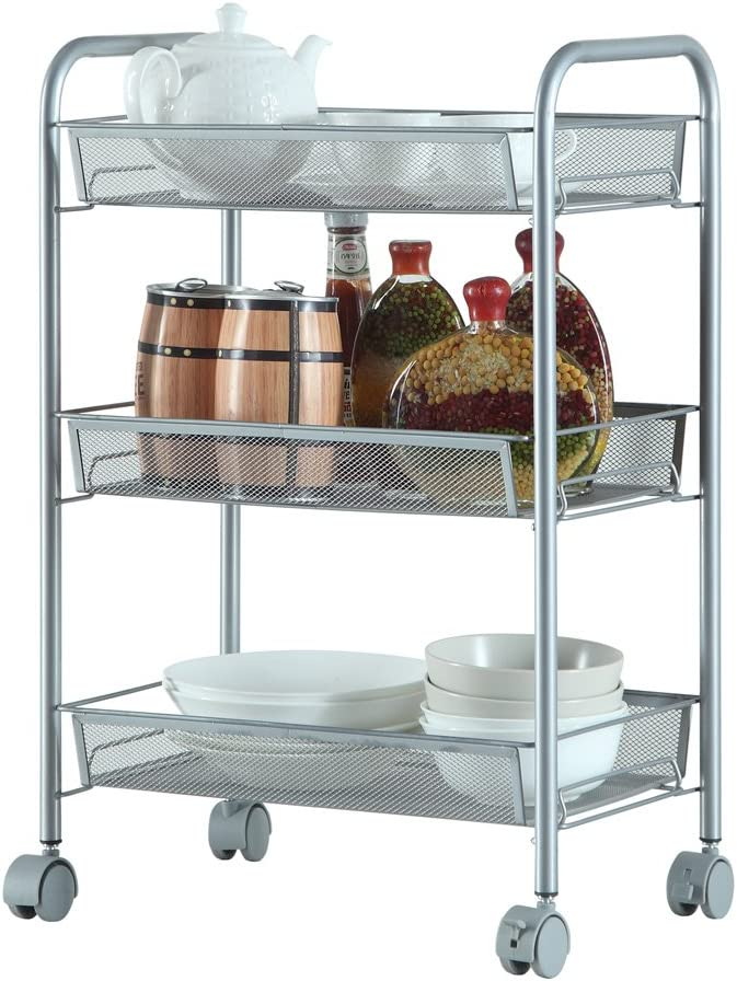 Alightup Multifunctional Rolling Utility Cart Standing Workstation Shelf Rack Honeycomb Mesh Style Removable Storage Cart For Kitchen Bathroom Bedroom Silver 3 Layers