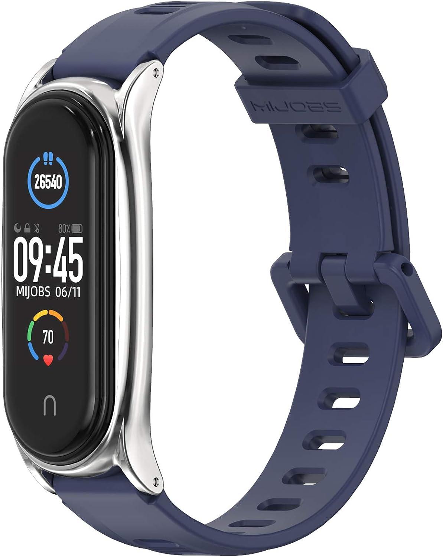 6x Silikon Armband Uhrenarmbänder Verstellbar Strap Band für Xiaomi Mi Band 5