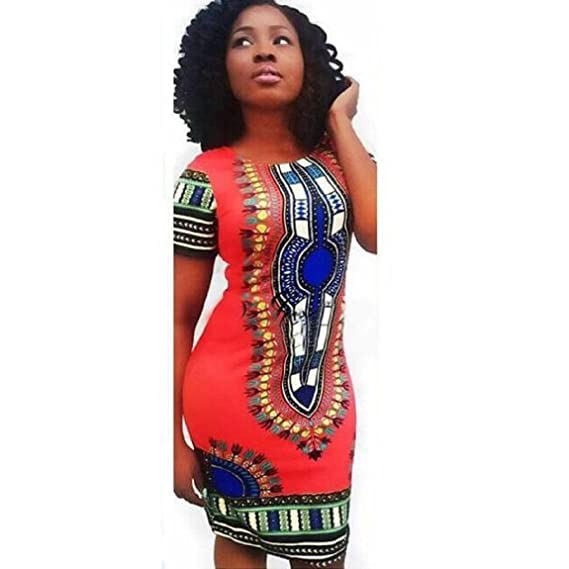 33e01ea397b DKmagic Women Traditional African Print Dashiki Bodycon Sexy Short Sleeve  Dress (S
