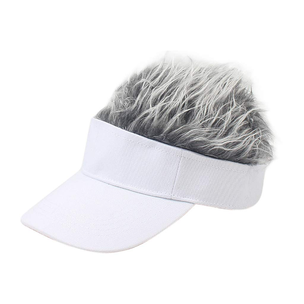 Wig Baseball Cap Sun Visor Cap Parent-Child Hat Peaked Adjustable Baseball Hat Spiked Hair Gag Visor Hat Cap (F)
