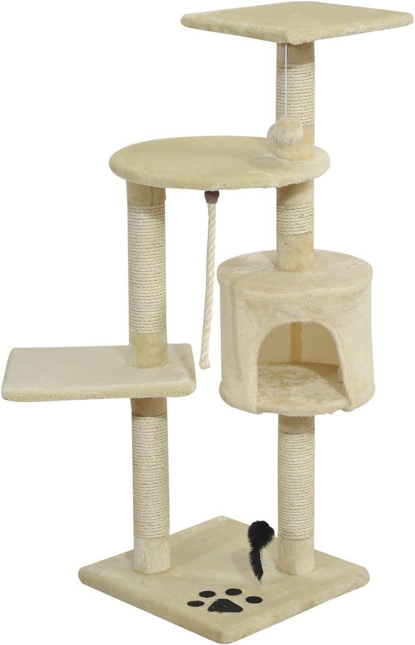 Pawhut Árbol para Gatos Rascador Gato de 4 Pisos con Poste para Arañar Cueva Espaciosa Múltiples Plataformas Juguetes Divertidos 112x75x40 cm Beige