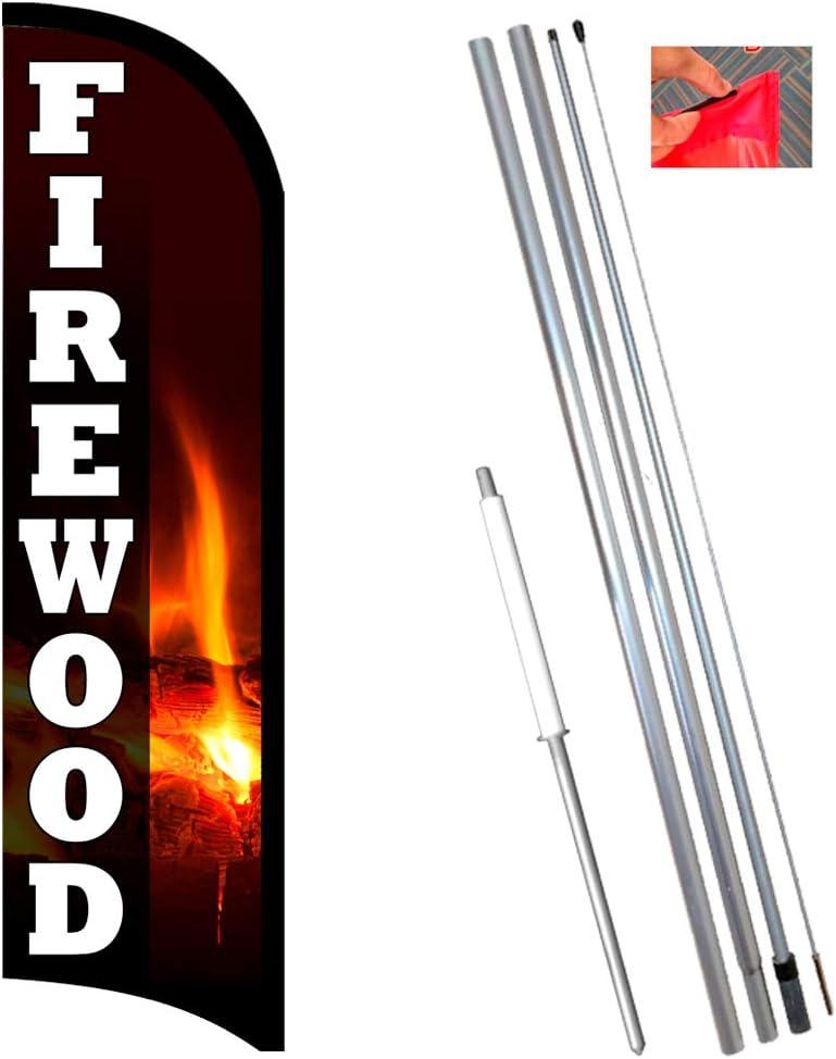 Vista Flags Firewood Premium Windless Feather Flag Bundle (11.5' Tall Flag, 15' Tall Flagpole, Ground Mount Stake)