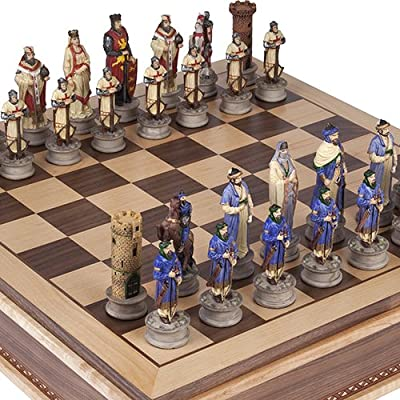 Crusade Chessmen & Battery Park Wooden Chess Board with Storage. King: 4 1/2""