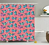 Ambesonne Magic Home Decor Collection, Mythical Flying Unicorns with Wings Rainbows and Stars Pattern Nursery Themed Girls Room , Polyester Fabric Bathroom Shower Curtain, 75 Inches Long, Multi