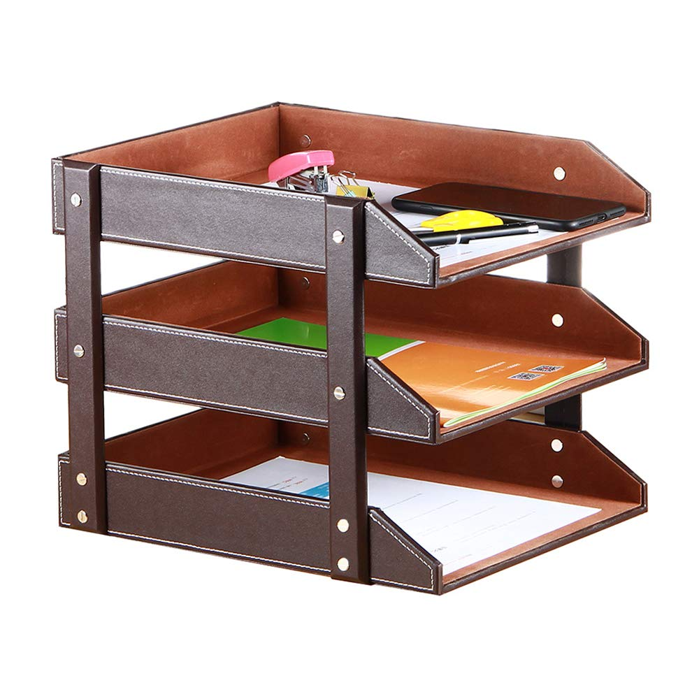Stacking Letter Trays Leather Office Desk Supply Organizer, 3-Tier Files Sorter Workplace Desktop Storage Holder for Document/Paper/Stationery/Magazine/Newspaper/Mail/Sundries (Brown) by YAPISHI