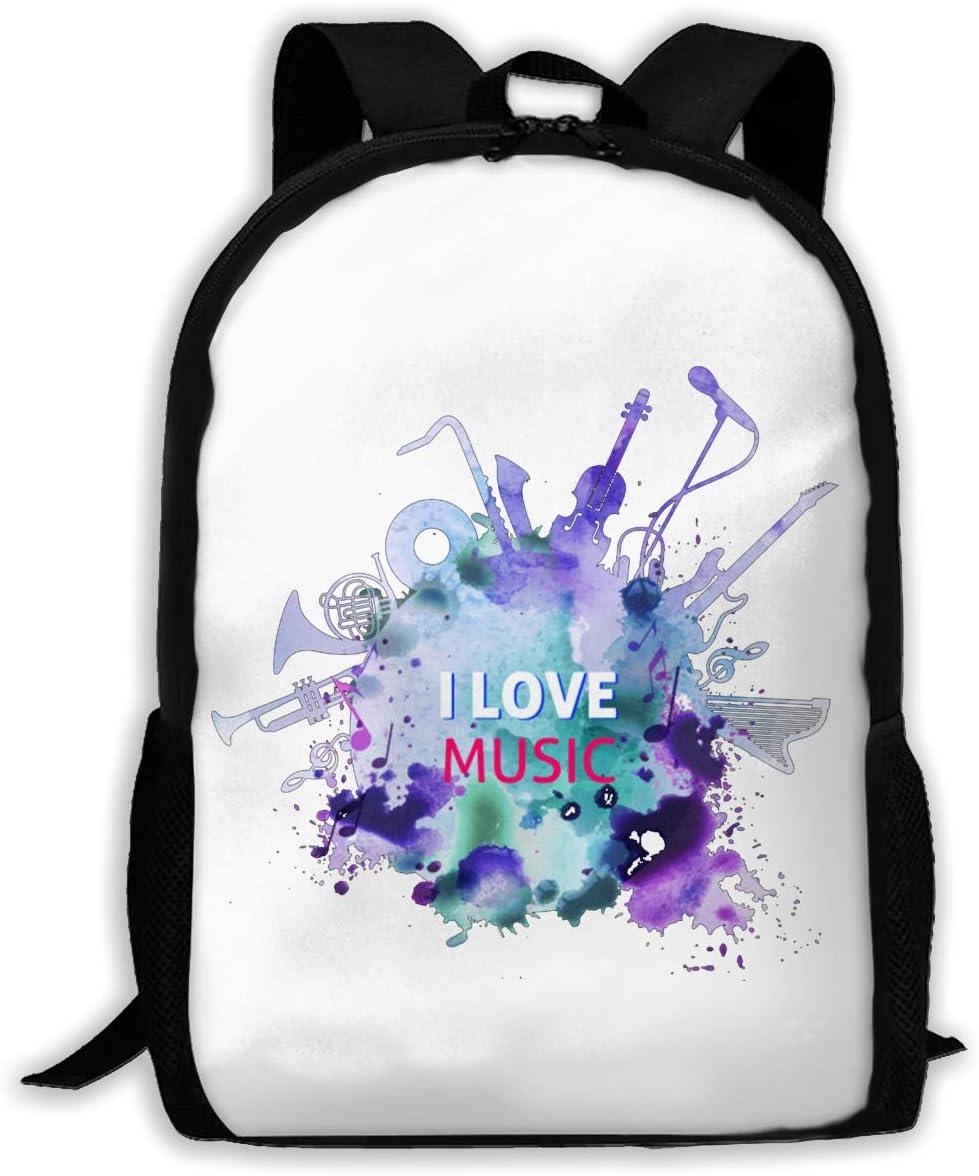 I Love Music Unisex Casual Backpack School Bag Travel Daypack Gift