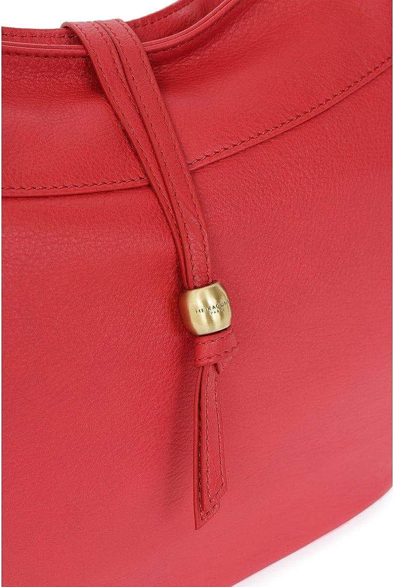 Hexagona - Grand sac porté épaule élégant femme avec bandoulière en cuir Voyages (416487) taille 27 cm Rouge