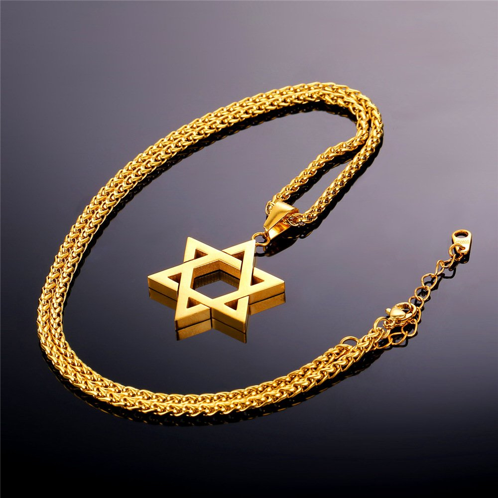 Davitu U7 Jewish Magen Star of David Necklace Men//Women Bat Mitzvah Gift Israel Judaica Hebrew Jewelry Hanukkah Pendant Gold Color P723 Metal Color: Classic Stainless