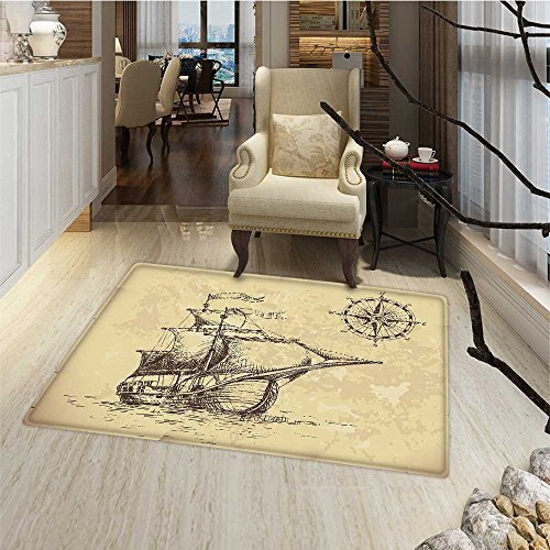 Compass Bath Mats for floors Hand Drawn Old Paper Style Back