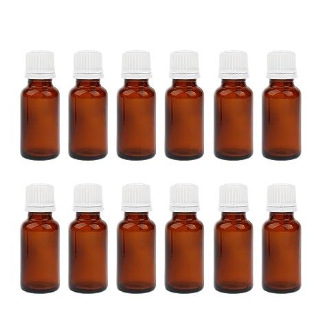 B Blesiya 12 Pcs de Botellas Vacías con Goteros Maquillaje cosméticos Aceite de Perfume - Ámbar