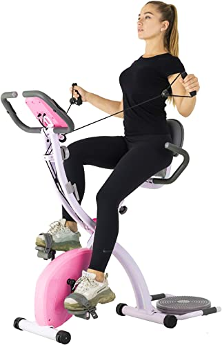 Murtisol Folding Exercise Bike Compact Foldable Stationary Bike Magnetic Resistance Control W Twister Plate