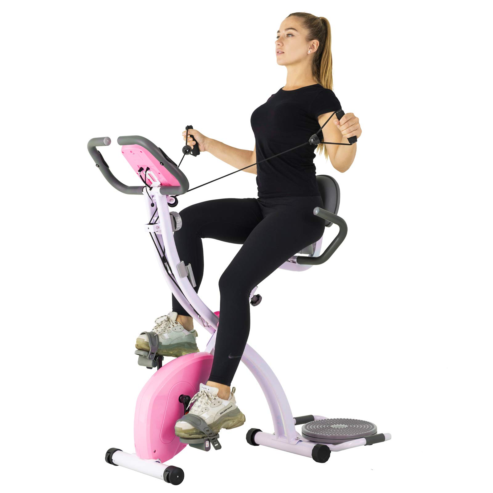 Murtisol Folding Stationary Bike Foldable Exercise Bike Indoor Cycling W/Twister Plate, Arm Resistance Bands, Extra Large&Adjustable Seat and Heart Monitor for Home Cardio Workout, Pink by Murtisol