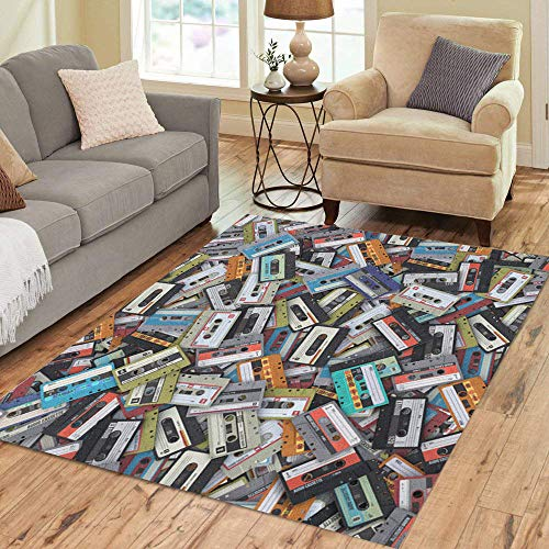 Pinbeam Area Rug Blue Pattern Big Bunch of Audio Cassettes 3D Home Decor Floor Rug 5' x 7' Carpet