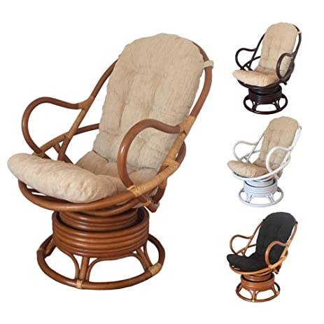 Rattan Swivel Rocking Chair David With Cushion (Light Brown   Beige Cushion)