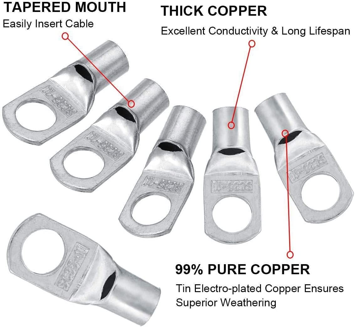 NO LOGO 12pcs cuivre Cosses Set Terminal SC35-10 Connecteur de Fil 2 AWG Trou 10mm /Étam/ées Argent Bornes cuivre Connecteurs Kit