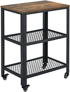 Amazon.com: Yaheetech Carrito de servicio con estante de ...