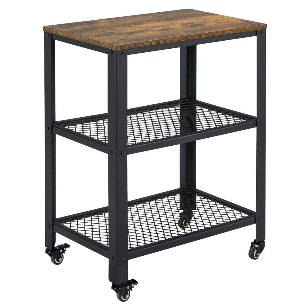 Yaheetech Serving Cart with Storage Shelf, 3-Tier Kitchen Rolling Cart, Industrial Accent Furniture for Living Room by Yaheetech