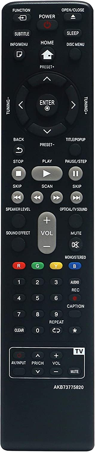 AKB73775820 Replaced Remote fit for LG 3D Blu-ray Disc DVD Home Theater System LHB675N BH5140S S54S1-S S54T1-W BH5440P S54T1-S S54T1-C BH5540T S65T3-S BH6240S BH6340H S64H1-S S64H1-C S64H1-W