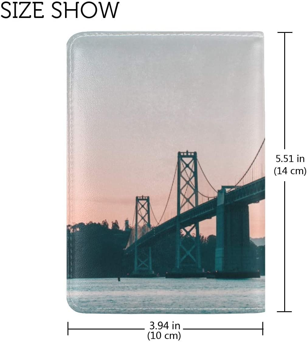 Bridge Water Dusk Leather Passport Holder Cover Case Travel One Pocket