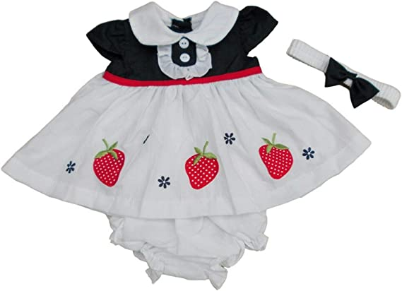 BabyPrem Baby Dress /& Knickers Set Strawberries Girls Clothes 0-3 Months Pink