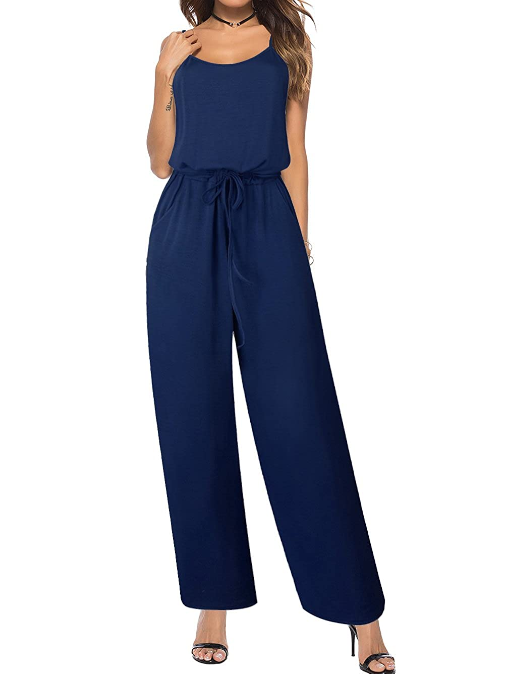 Famulily Womens Sleeveless Striped Jumpsuit Drawstring Wide Leg Trousers Outfit 270045F2