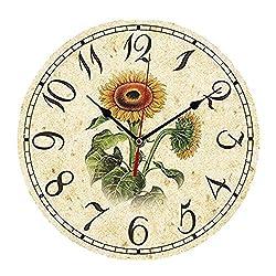ChezMax 12 Vintage European Creative Frameless Wooden Electronic Wall Clock DIY Assembling Clock Sunflower