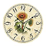 """ChezMax 12"""" Vintage European Creative Frameless Wooden Electronic Wall Clock of Country French Style DIY Assembling Clock Sunflower"""